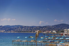 Juan Les Pins beach, Mediterranean tourist destination on the Fr Royalty Free Stock Images