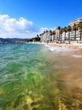 Juan Les pins. Beach and sea Royalty Free Stock Photography