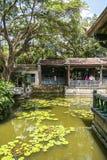 juan Lin ogródu i dworu Rodzinny celowniczy widok, Lili basenu zakończenie w górę widoku Obraz Stock