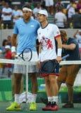 Juan Martin Del Porto van Argentinië L en Andy Murray van Groot-Brittannië vóór mensen ` s kiest def. van Rio uit 2016 Olympische Royalty-vrije Stock Afbeeldingen