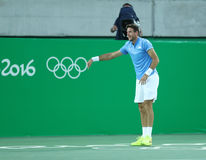 Juan Martin Del Potro of Argentina celebrates victory after men`s singles semifinal match of the Rio 2016 Olympic Games Royalty Free Stock Photography
