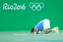 Juan Martin Del Potro of Argentina celebrates victory after men`s singles semifinal match of the Rio 2016 Olympic Games Royalty Free Stock Photos
