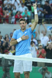 Juan Martin Del Potro of Argentina celebrates victory after men`s singles semifinal match of the Rio 2016 Olympic Games Royalty Free Stock Image