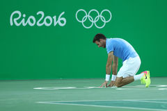 Juan Martin Del Potro of Argentina celebrates victory after men`s singles semifinal match of the Rio 2016 Olympic Games Stock Photos