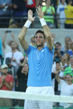 Juan Martin Del Potro of Argentina celebrates victory after men`s singles semifinal match of the Rio 2016 Olympic Games Stock Photo