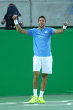 Juan Martin Del Potro of Argentina celebrates victory after men`s singles semifinal match of the Rio 2016 Olympic Games Stock Photography