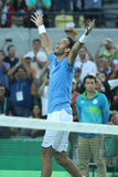 Juan Martin Del Potro of Argentina celebrates victory after men`s singles semifinal match of the Rio 2016 Olympic Games Royalty Free Stock Photo