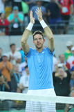 Juan Martin Del Potro of Argentina celebrates victory after men`s singles semifinal match of the Rio 2016 Olympic Games Stock Image