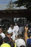 Juan Martin Del Potro y Guido Pella antes del tenis doble m Foto de archivo libre de regalías