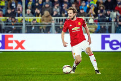 Juan Mata with ball Attacking midfielder in match. 1/8 finals of the Europa League between FC `Rostov` and `Manchester United`, 09 March 2017 in Rostov-on-Don Stock Photos