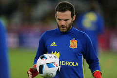 Juan Mata. Juan Manuel Mata Garcia midfielder of the Spanish National Football Team, pictured before the friendly match between Romania and Spain, played at Cluj stock photography