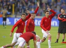 Juan Mata, Wayne Rooney και ένωση FC Μπρυζ - Manchester United πρωτοπόρων του Matteo Darmian Στοκ εικόνα με δικαίωμα ελεύθερης χρήσης