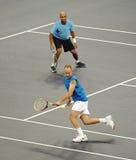 Juan McEnroe y James Blake en acciones Fotografía de archivo