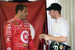 Juan Pablo Montoya talks with Jamie McMurray Stock Photos