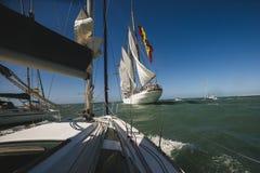 Juan Sebastian Elcano żeglowanie w zatoce Cadiz, Hiszpania Fotografia Stock