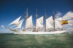 Juan Sebastian Elcano sailing in the bay of Cadiz, Spain Royalty Free Stock Photo