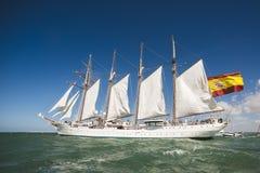 Juan Sebastian Elcano sailing in the bay of Cadiz, Spain Stock Photo