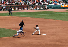 Juan Uribe stands on 2nd as he waits for ball Royalty Free Stock Image
