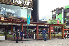 Juan Valdez Cafe on Plaza Foch in Quito, Ecuador. QUITO, ECUADOR - AUGUST 6, 2014: Unidentified people standing in front of Juan Valdez Cafe on Plaza Foch in the Royalty Free Stock Photography