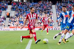Juanfran plays at the La Liga match between RCD Espanyol and Atletico de Madrid Stock Images