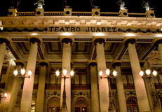 Juarez Theater, Guanajuato, Mexico Front at Night Stock Images