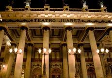 Juarez Theater, Guanajuato, Mexico Front at Night. Framous Juarez Theater, Teatro Juarez, Guanajuato, Mexico.  This is the front of the Theater at night Stock Images
