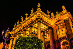 Juarez Theater Statues Guanajuato Mexico. Juarez Theater Opera House Statues Night Guanajuato Mexico Stock Image