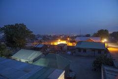 Juba, Sudan del sud alla notte Fotografia Stock Libera da Diritti