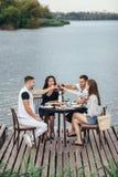Jubel! Grupp av vänner som tycker om den utomhus- picknicken i flodpir royaltyfri fotografi