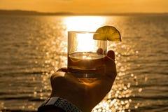 Jubel till havet på solnedgången Arkivbild