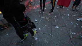 jubelen van verdedigers na de overwinningswereldbeker Rusland stock video