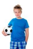 Jubeljunge mit Fußball Lizenzfreie Stockbilder