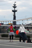 Jubelledare på Moskvamaraton Arkivfoton