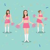 Jubeln Sie Führermädchen mit schöner junger Stellung des Pompomssports zu Stockfoto