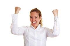 Jubelnde Geschäftsfrau Stock Images