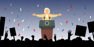 Jubelnde Leute treffen den neuen Präsidenten Stockfoto
