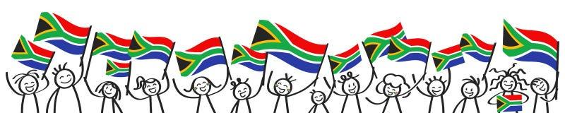 Jubelnde Menge des glücklichen Stockes stellt mit südafrikanischen Staatsflaggen, lächelnde Südafrika-Anhänger, Sportfans dar vektor abbildung