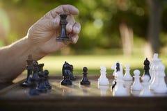 Jubilados activos, hombre mayor que juega a ajedrez en el parque Imagen de archivo