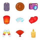 Jubilance icons set, cartoon style Stock Photography