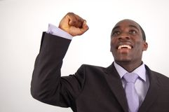 Jubilant Again. This is an image of a very happy businessman, with one fist up Royalty Free Stock Photos