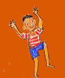 Jubilant boy kid-like art Stock Photo