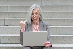 Jubilant businesswoman cheering at good news royalty free stock images