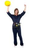 Jubilant female architect celebrating success Stock Photos