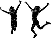 Jubilant Kids Leap Silhouette Royalty Free Stock Images