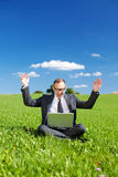 Jubilant manager in a green grassy field Stock Photos