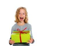Jubilantly girl with present Stock Image