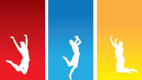 Jubilating girls. An illustrated background with silhouettes of jubilating jumping girls on 3 different colors, isolated on white background Royalty Free Stock Photo