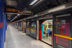 Jubile line train at modern North Greenwich station Stock Photography