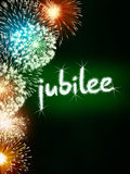 Jubilee anniversary firework celebration party green Stock Photo