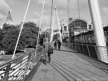 Jubilee Bridge in London black and white